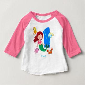 Ă?re coutume d'anniversaire de sirène t-shirt pour bébé