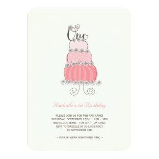 Ă?re fête d'anniversaire de bébé rose lunatique de carton d'invitation  11,43 cm x 15,87 cm