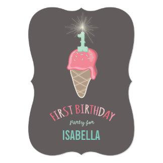 Ă?re fête d'anniversaire de crème glacée de fille carton d'invitation  12,7 cm x 17,78 cm
