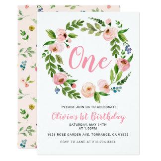 Ă?re fille florale rose de pivoine des invitations