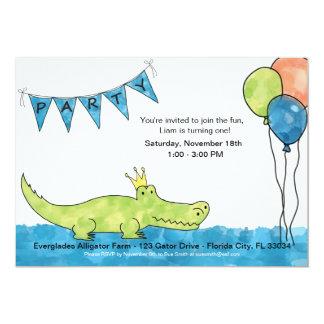 Ă?re invitation d'anniversaire d'alligator