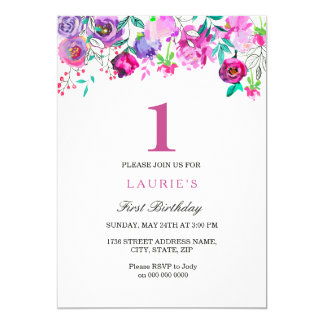 Ă?re invitation d'anniversaire de fille florale