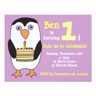 Ă?re invitation d'anniversaire de pingouin, fête