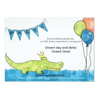 Ă?re invitation de fête d'anniversaire d'alligator