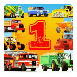 Ă?re partie de camion de construction carton d'invitation  13,33 cm