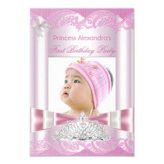Ă?re partie de princesse Girl First Birthday Carton D'invitation 8,89 Cm X 12,70 Cm