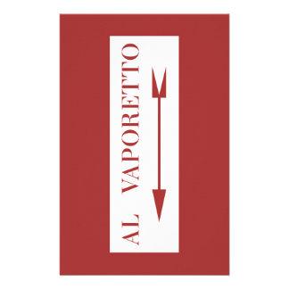À Vaporetto, plaque de rue de Venise, Italie Papier À Lettre Personnalisé