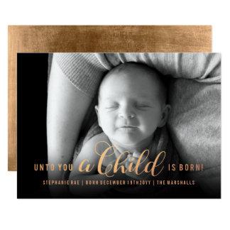 À vous un enfant est carte de Noël née de bébé de Carton D'invitation 12,7 Cm X 17,78 Cm