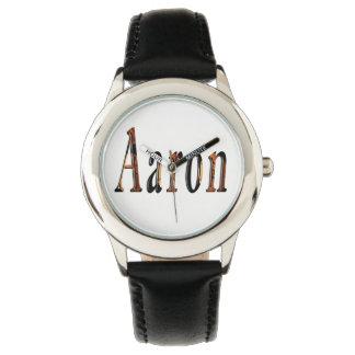 Aaron, logo nommé, montre en cuir noire d'enfants