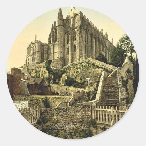 Abbaye des remparts, St Michel, France v de Mont Autocollant Rond
