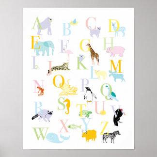 ABC animal en pastel impriment Affiches