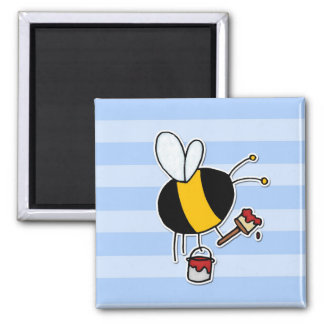 abeille de travailleur - peintre magnet carré