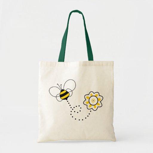 Abeille et fleur mignonnes sacs en toile