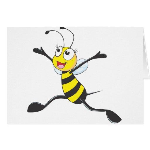 abeille femelle joyeuse carte de v ux zazzle. Black Bedroom Furniture Sets. Home Design Ideas