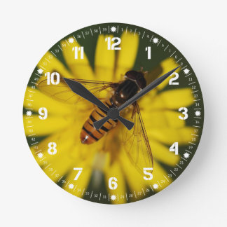 Abeille fraîche de miel sur la fleur dans la photo horloge ronde