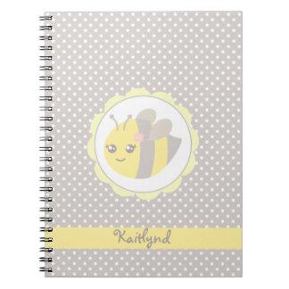 Abeille jaune et grise de bébé carnet