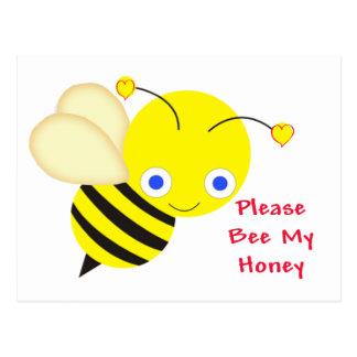 Abeille mon miel Valentine Carte Postale