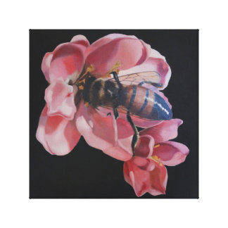 Abeille sur la fleur rose toile