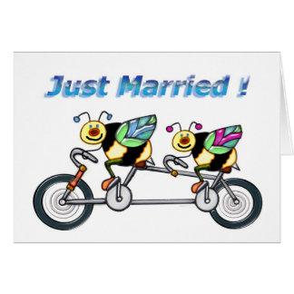 Abeille sur le vélo d'aTandem marié Carte De Vœux