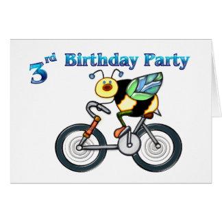 Abeille sur un 3ème anniversaire de vélo carte de vœux