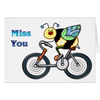 Abeille sur une Mlle You de vélo Cartes