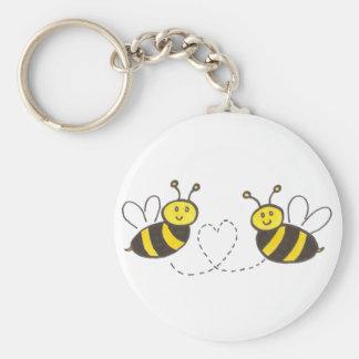 Abeilles de miel avec le coeur porte-clés