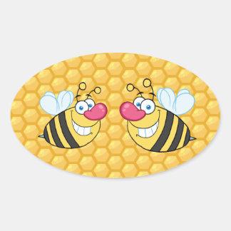 Abeilles de peigne de miel sticker ovale
