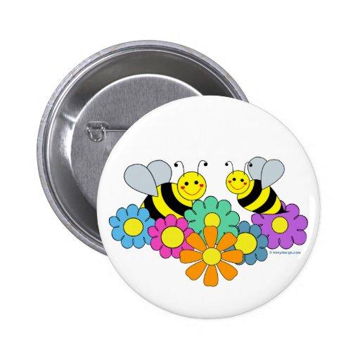 Abeilles et fleurs pin's avec agrafe