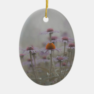 Abeilles et les fleurs de cône ornement ovale en céramique