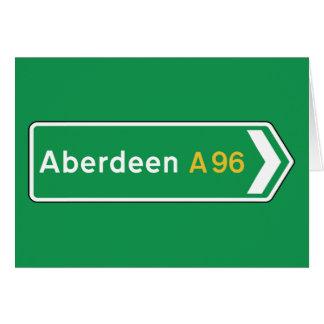 Aberdeen, panneau routier BRITANNIQUE Cartes
