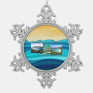ABH Îles Vierges Ornement Flocon De Neige Pewter