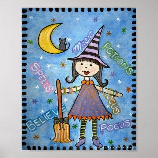 Abracadabra - la sorcière de 8x10 Halloween badine Posters