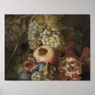 Abraham Brueghel - la vie toujours avec le fruit Poster