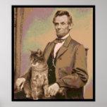 """Abraham Lincoln et son chat """"Dixie """" Affiche"""