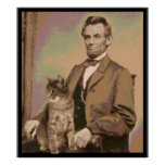 "Abraham Lincoln et son chat ""Dixie "" Posters"