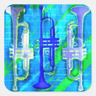 Abrégé sur 3 trompettes sticker carré