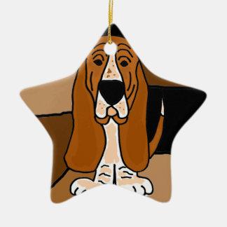 Abrégé sur adorable art de chien de Basset Hound Ornement Étoile En Céramique