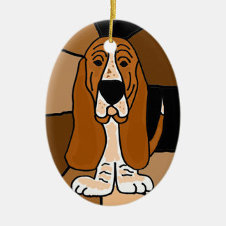 Abrégé sur adorable art de chien de Basset Hound Ornement Ovale En Céramique