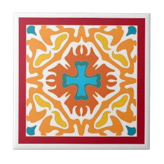 Abrégé sur ardent orange avec des accents bleus carreau