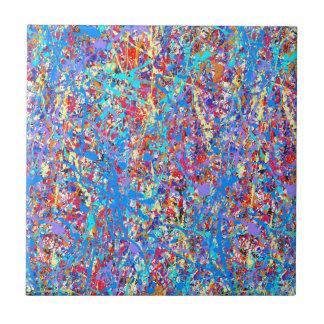 Abrégé sur bleu lumineux éclaboussure de peinture petit carreau carré
