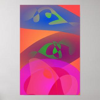 Abrégé sur coloré Digitals Affiche