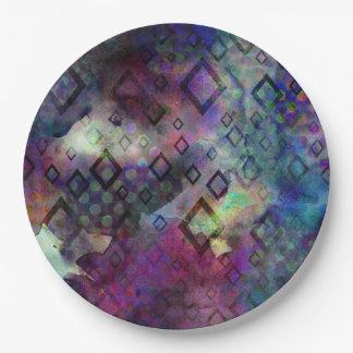 Abrégé sur coloré orageux aquarelle avec des assiettes en papier