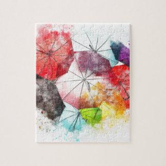 Abrégé sur coloré parapluies puzzle