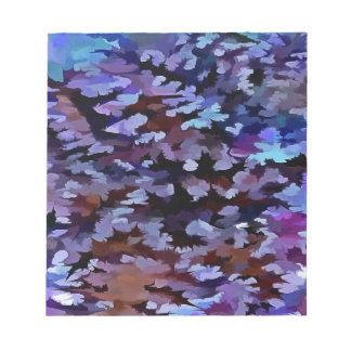 Abrégé sur feuillage dans des tons bleus et lilas blocs notes