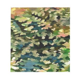 Abrégé sur feuillage en vert, pêche et bleu de blocs notes