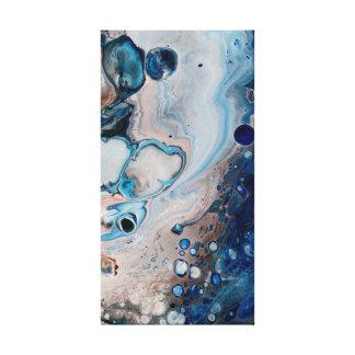 Abrégé sur liquide bleu acrylique sur la toile