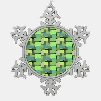 Abrégé sur moderne jade vert vert de chaux ornement flocon de neige pewter