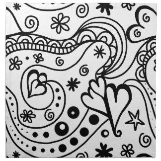 Abrégé sur noir et blanc coeur serviettes en tissus