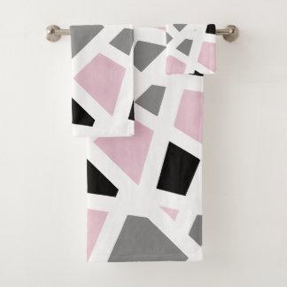 Abrégé sur noir gris rose blanc géométrique