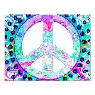 Abrégé sur psychédélique signe de paix carton d'invitation 10,79 cm x 13,97 cm